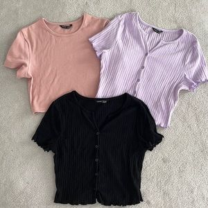 🎀 SHEIN 3 Pack Cropped Button-Up T-Shirts   Size S  